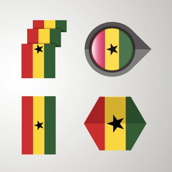 ghana flag design set vector