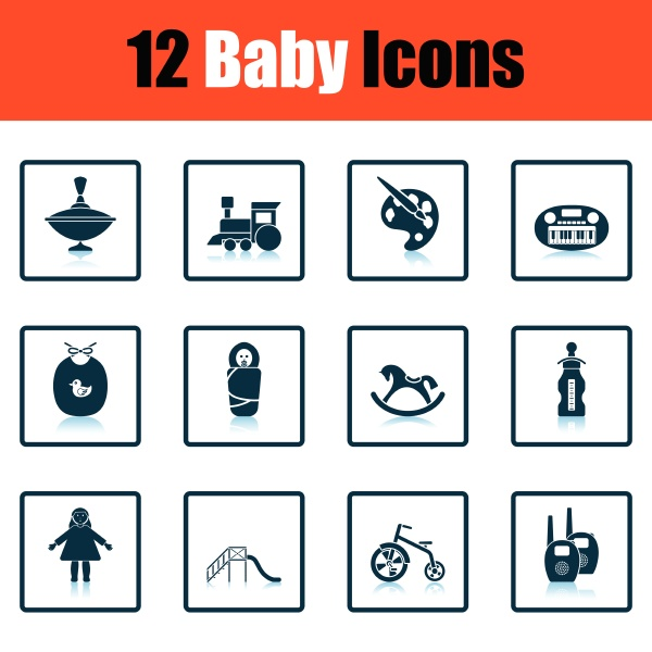 set of baby icons shadow