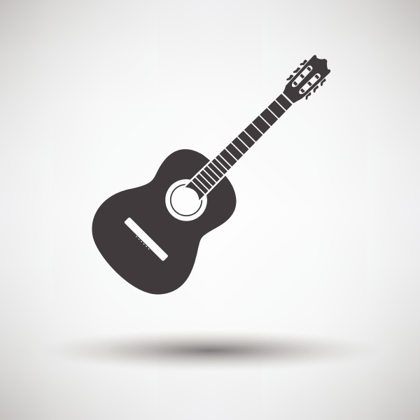 acoustic guitar icon on gray background