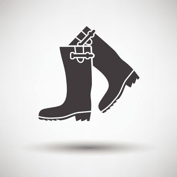 hunterrsquos rubber boots icon on gray