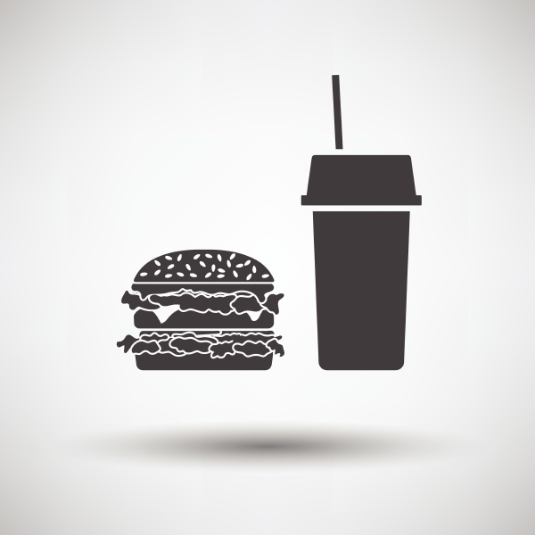 fast food icon on gray background