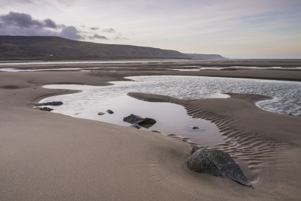 barmouth harbour low tide at sunrise