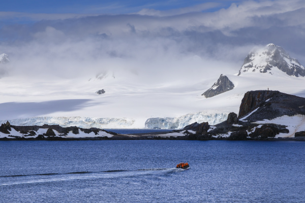 expedition tourists on a zodiac boat