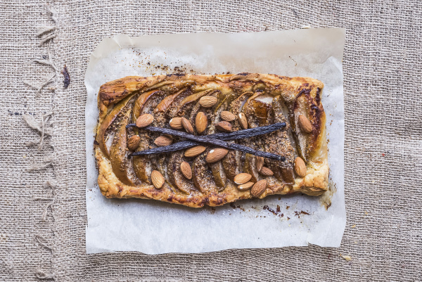 rustic pear square galette with almond