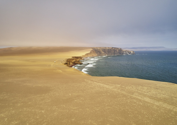 peru paracas camper at cliff coast