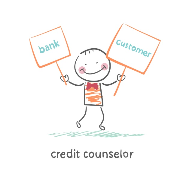 credit counselor holding a plate with