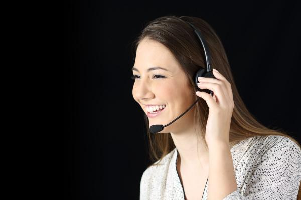 tele marketer attending call on black