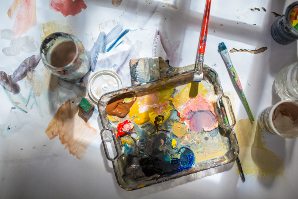 palette and paint brush in artist