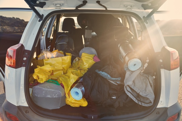 trunk with stuff for camping