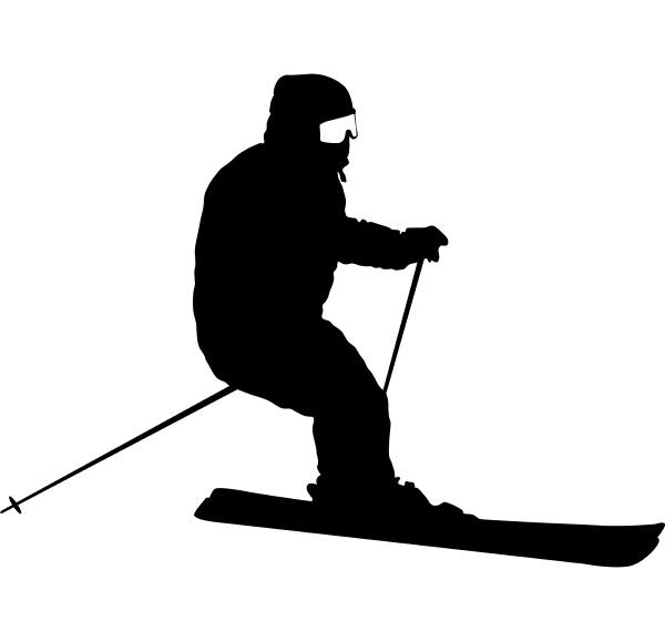 mountain skier speeding down slope sport