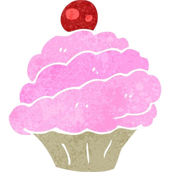 retro cartoon pink cupcake