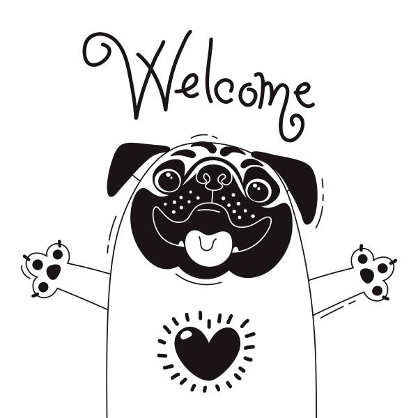 illustration with joyful pug who says