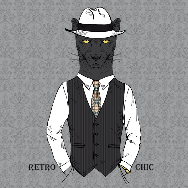 black leopard boy dressed up in