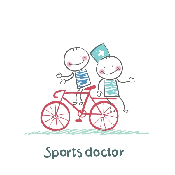 sports doctor rides a bicycle with