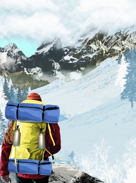 hiker walking in mountain landscape