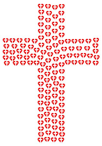 red love heart christian cross crucifixion