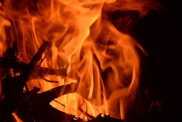 fire in the fireplace log