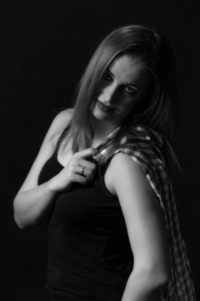 monochrome portrait of beautiful young woman