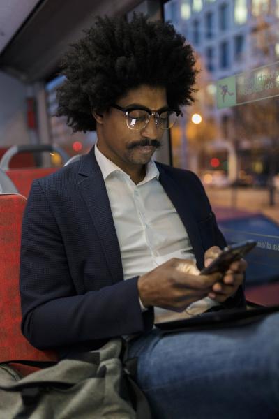 spain barcelona businessman in a tram