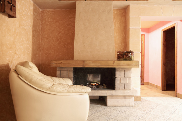 fireplace and leather chair