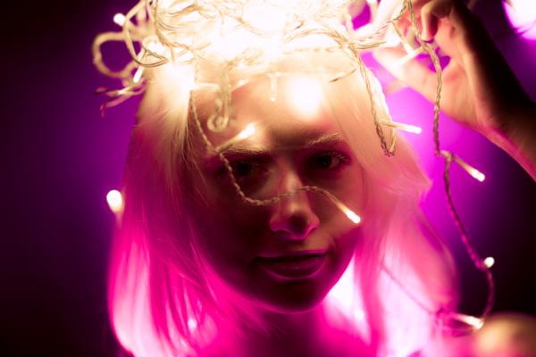 portrait girl strip light tape on