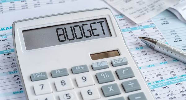 a calculator with the word budget