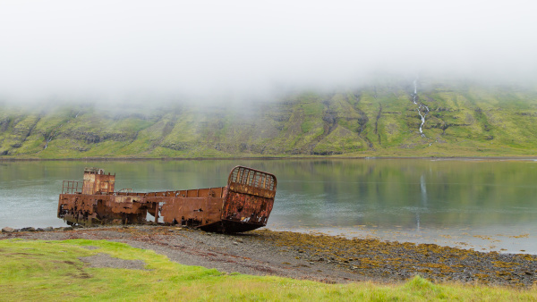 shipwreck from mjoifjordur fiord east