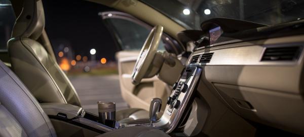 modern car interior shallow dof