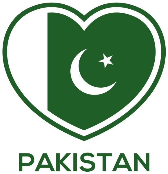 pakistan love heart flag shape green