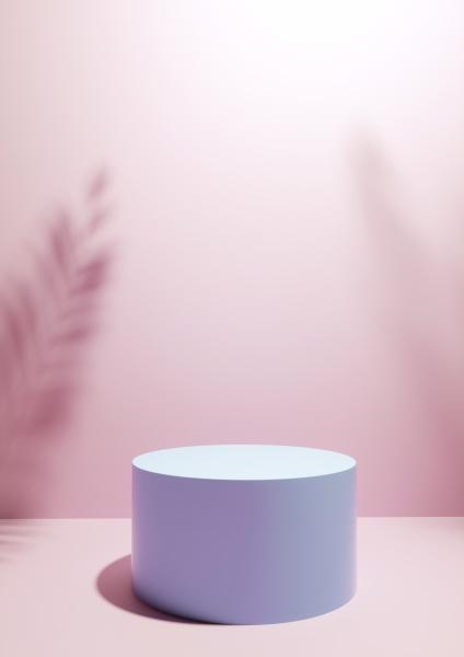 circular display plinth on pink studio