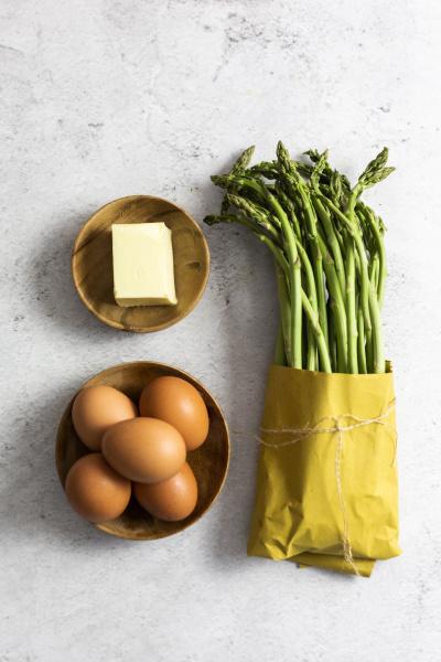 asparagus eggs and a piece of