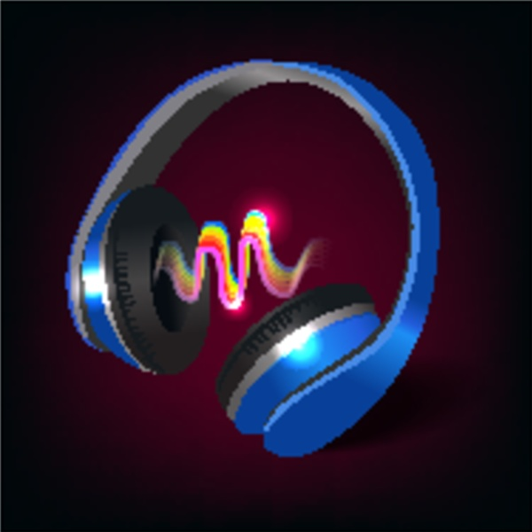 blue wireless music headphones with colored