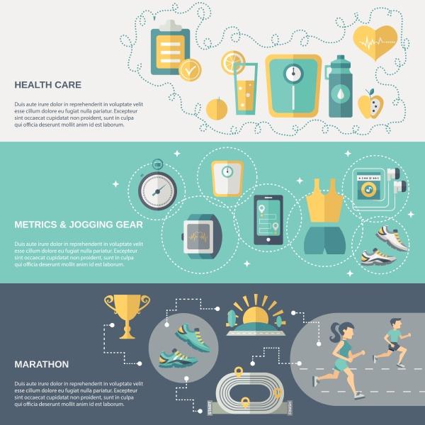 jogging banner horizontal set with health