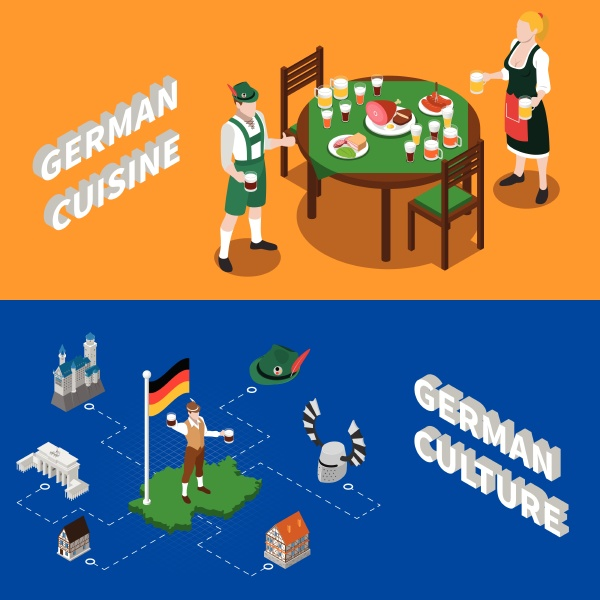 german culture for tourists 2 isometric