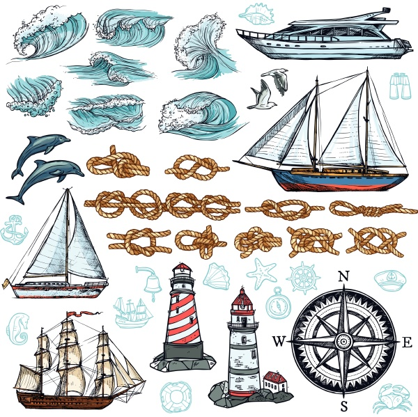 marine sketch set of ship boat