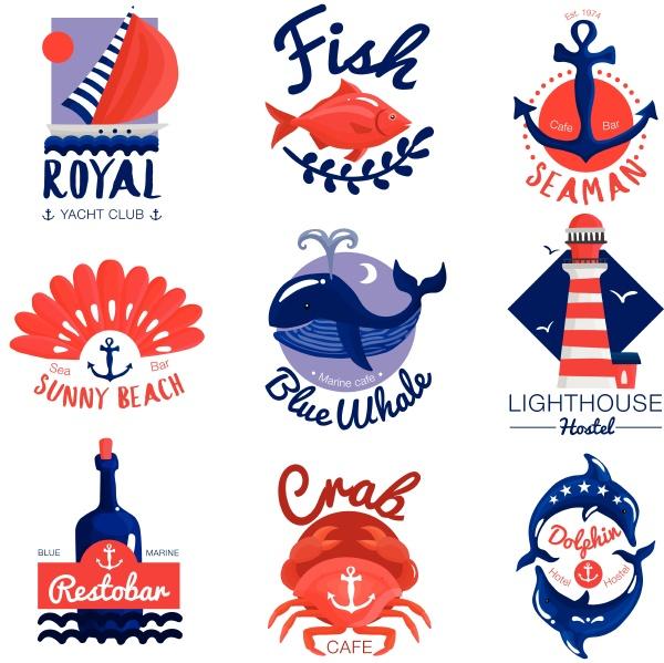 set of nautical emblems for cafe