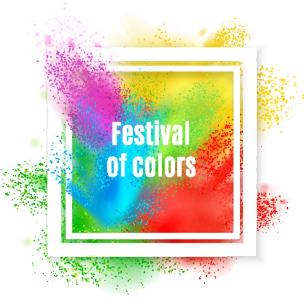 holi paint realistic frame composition with