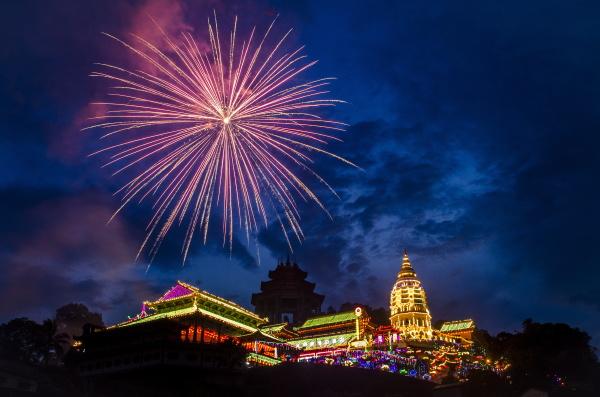 fireworks celebrating chinese new year