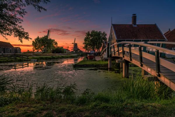 zaanse schans old village in netherlands