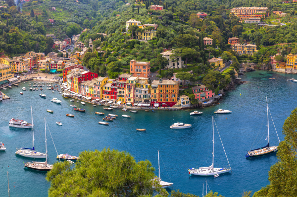 europe italy liguria portofino aerial view