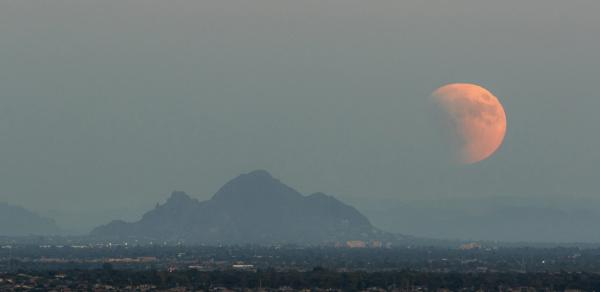 usa arizona phoenix partially eclipsed supermoon