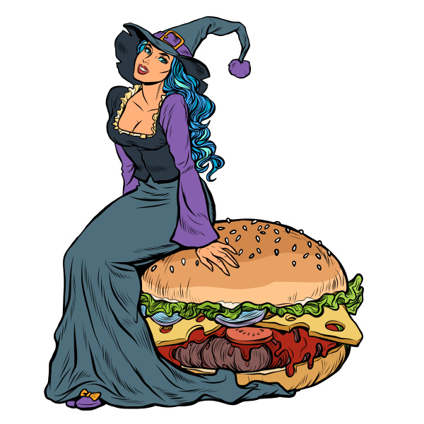 halloween witch sitting on a burger
