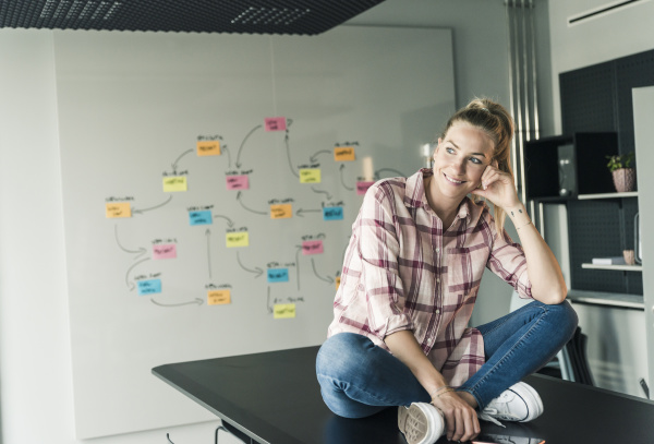 smiling businesswoman sitting on table in