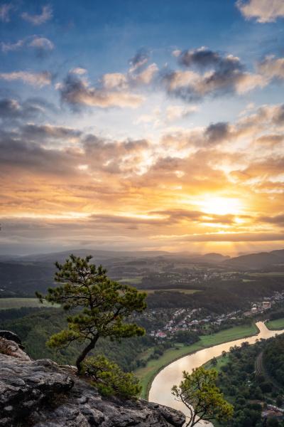 beautiful sunrise in saxon switzerland