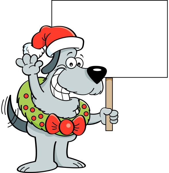 cartoon illustration of a dog wearing