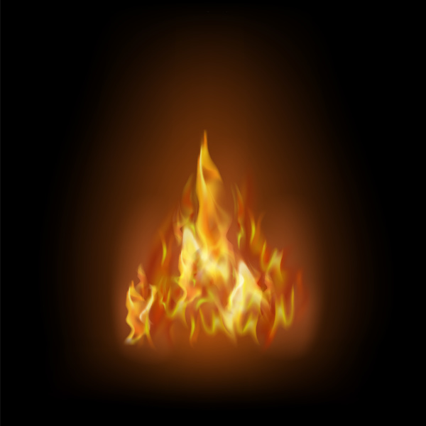 flame isolated over black background hot