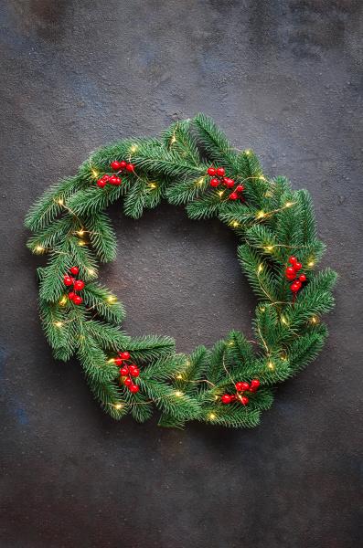 christmas wreath made of tree fir