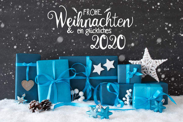 turquois gift snowflakes glueckliches 2020 means
