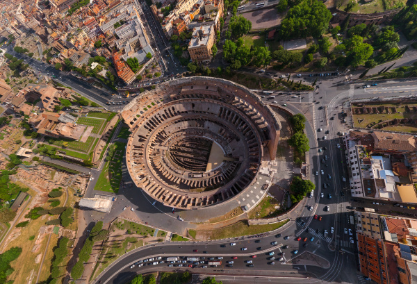 aerial view of roman colosseum during