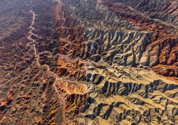 aerial view of colourful mountains of